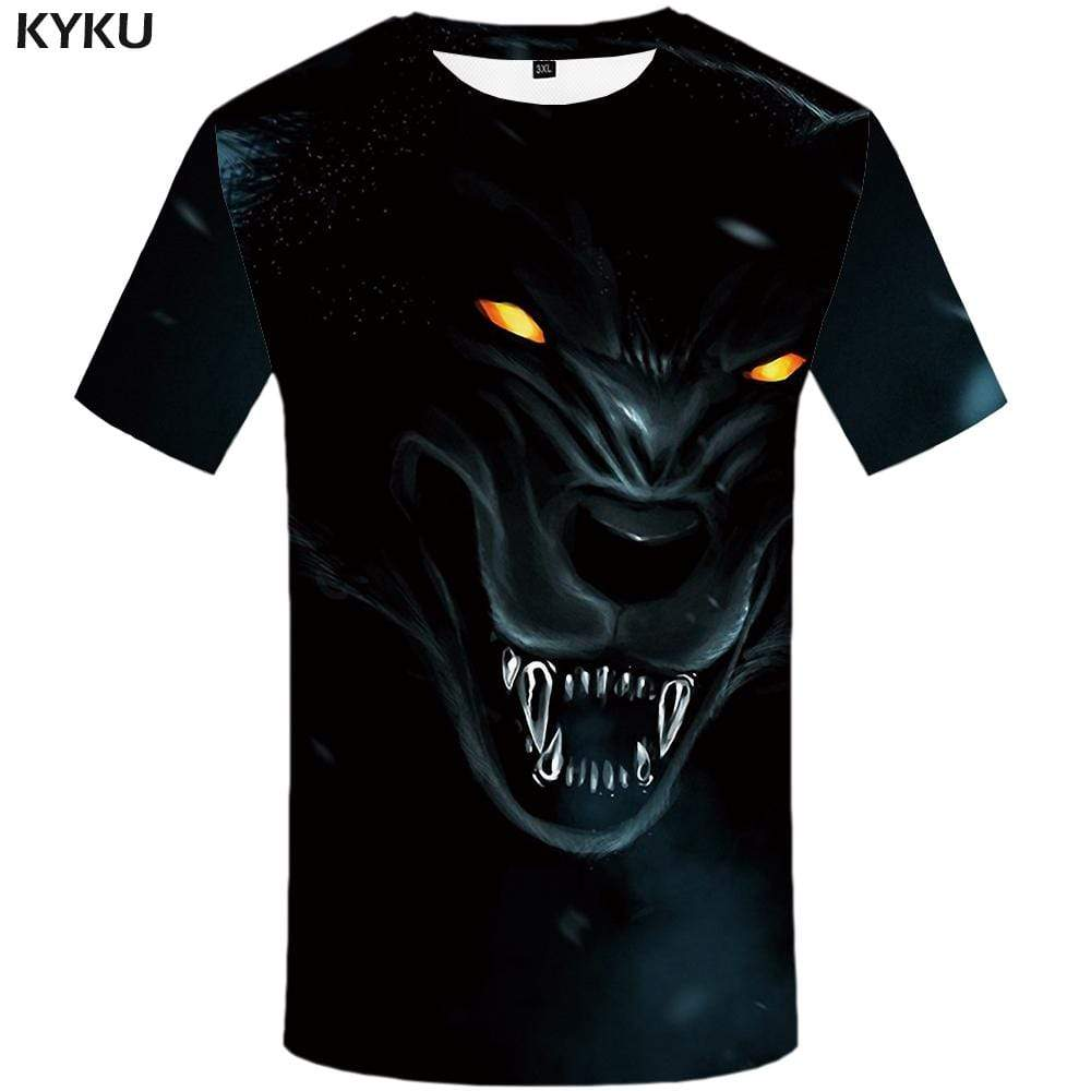 Wolf T shirt Men Black T shirts Funny Animal Tshirt Anime Gothic T-shirt 3d Eye Tshirts Print Mens Fashion Hip hop Unisex