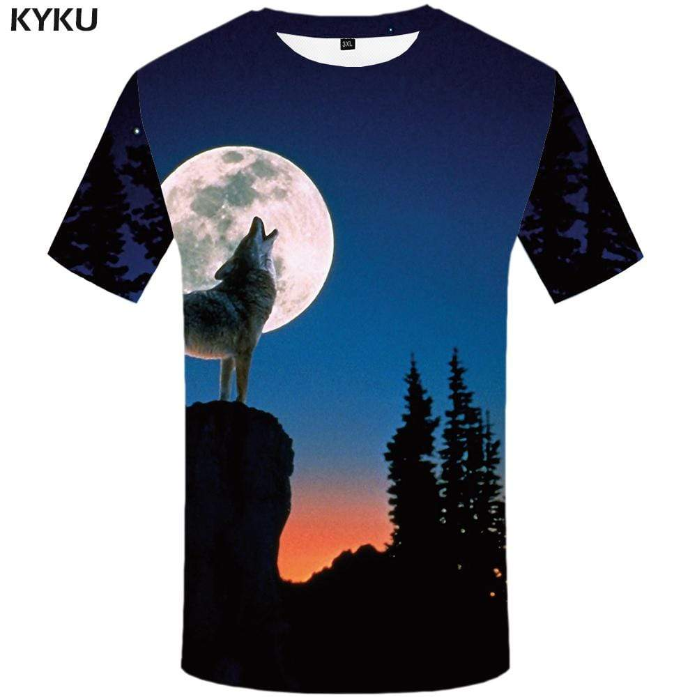 KYKU Brand Wolf T shirt Men Forest Tshirts Print Animal T shirts Funny Mountain Tshirt Anime Moon T-shirt 3d Mens Fashion