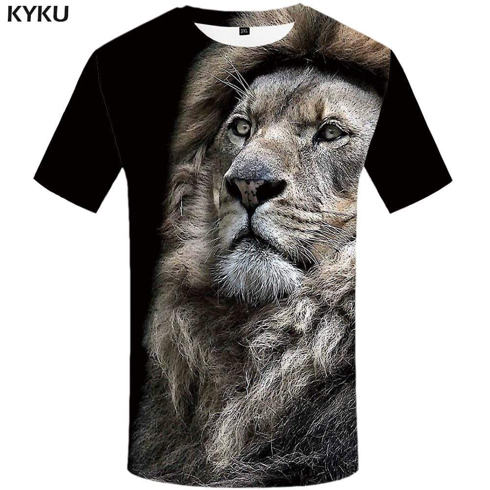 Lion T-shirts Men Black Tshirts Print Animal T-shirt 3d Harajuku T shirts Funny Tshirt Anime Mens Clothing Short Sleeve Unisex