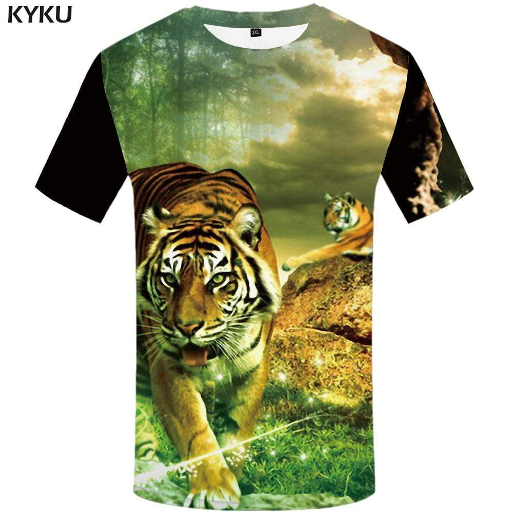 Tiger T shirt Men Forest T-shirt 3d Cloud Tshirts Print Animal T shirts Funny Harajuku Tshirt Anime Mens Fashion Hip hop Unisex