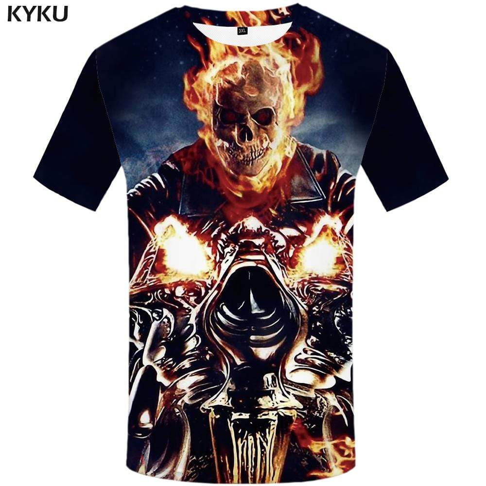 Skull T-shirts Men Metal Tshirts Print Flame Tshirt Anime Motorcycle T shirts Funny Fire T-shirt 3d Mens Fashion Short Sleeve