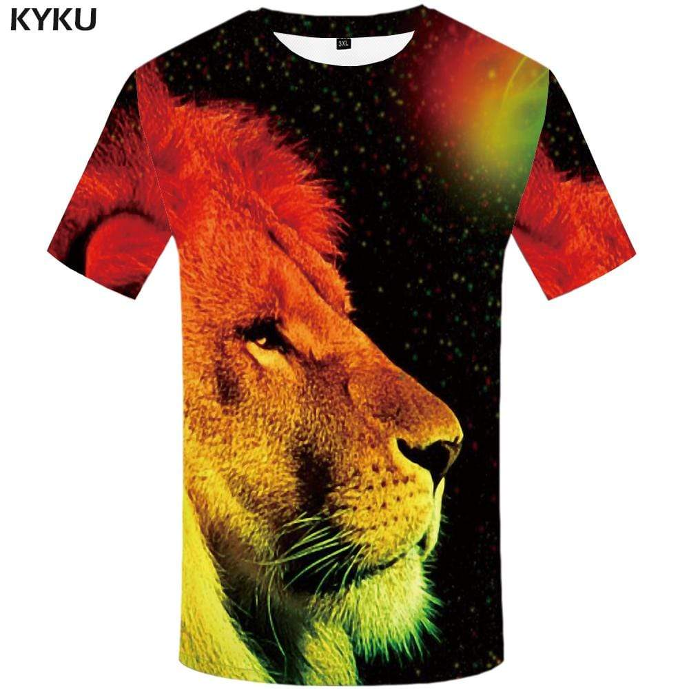 Lion T-shirts Men Galaxy Space Tshirt Anime Abstract Tshirts Print Animal T-shirt 3d Gothic T shirts Funny Mens Fashion Casual