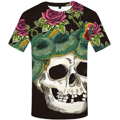 Skull T-shirt Men Snake T shirts Funny Animal Tshirt Anime Rose T-shirts 3d Flower Tshirts Novelty