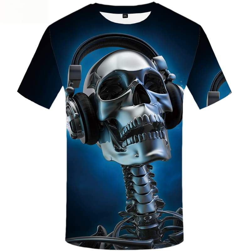 Skull T-shirt Men Skeleton T-shirts 3d Music Tshirts Novelty Short Sleeve