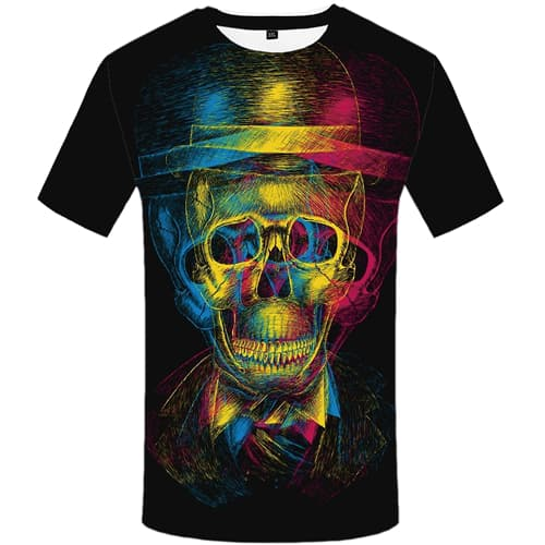 Skull T shirt Men Graffiti Tshirt Anime Colorful T shirts Funny Black Tshirts Print Psychedelic T-shirt 3d Mens Clothing