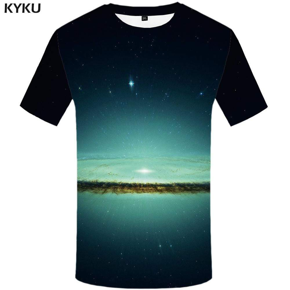 Reflection T-shirts Men Galaxy Space Tshirts Print Green T shirts Funny Harajuku Tshirt Anime Abstract T-shirt 3d Mens Fashion