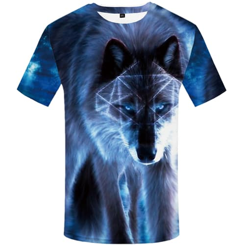 KYKU Brand Wolf T-shirts Men Geometric T-shirt 3d Animal Tshirt Anime Blue Tshirts Print Abstract T shirts Funny Mens Fashion