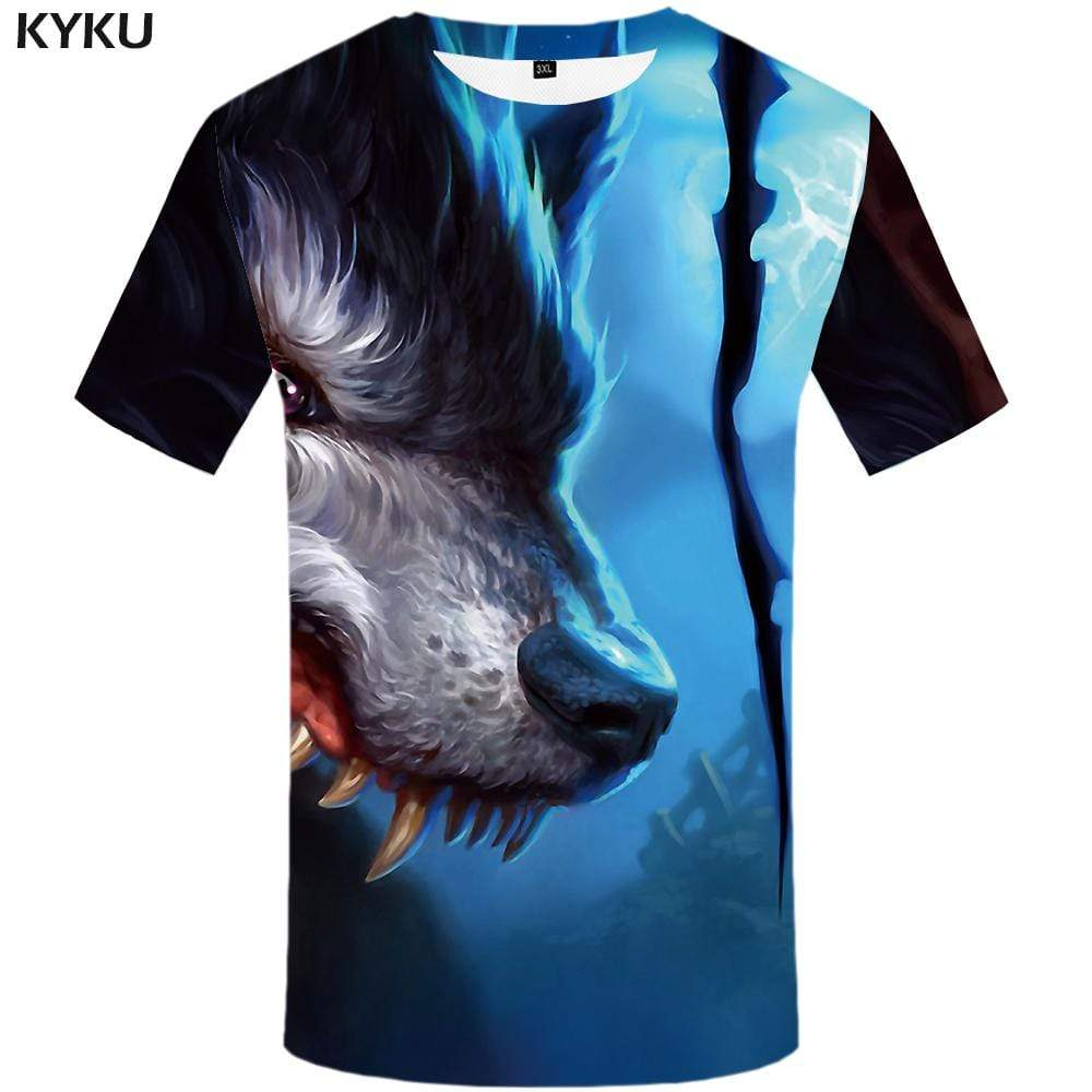 Wolf T shirt Men War T-shirt 3d Splice Tshirt Anime Blood T shirts Funny Animal Tshirts Print Mens Clothing Short Sleeve Unisex