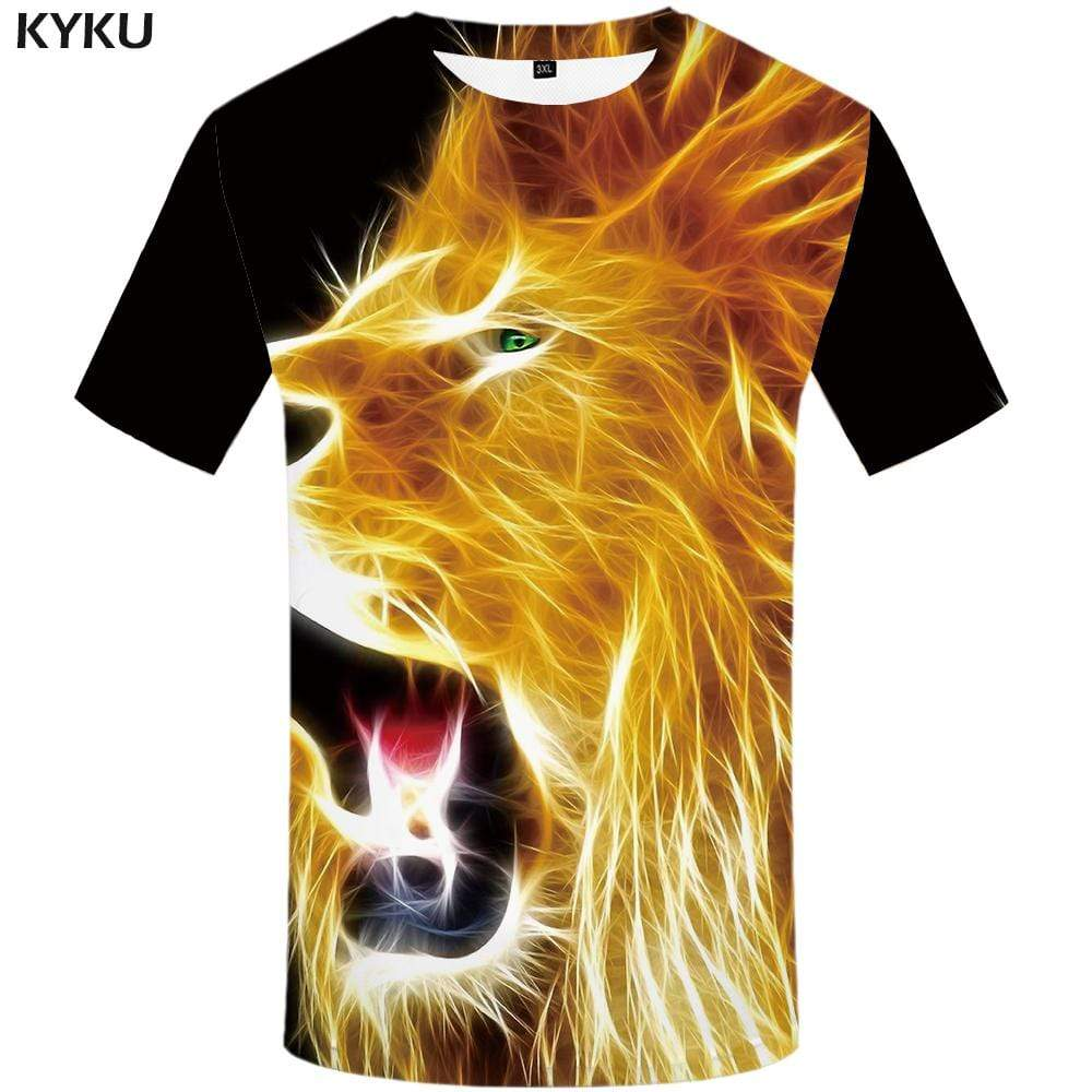 Lion T shirt Men Animal Tshirts Print Fire Tshirt Anime Art T-shirt 3d T shirts Funny Mens Clothing Hip hop Unisex Printed