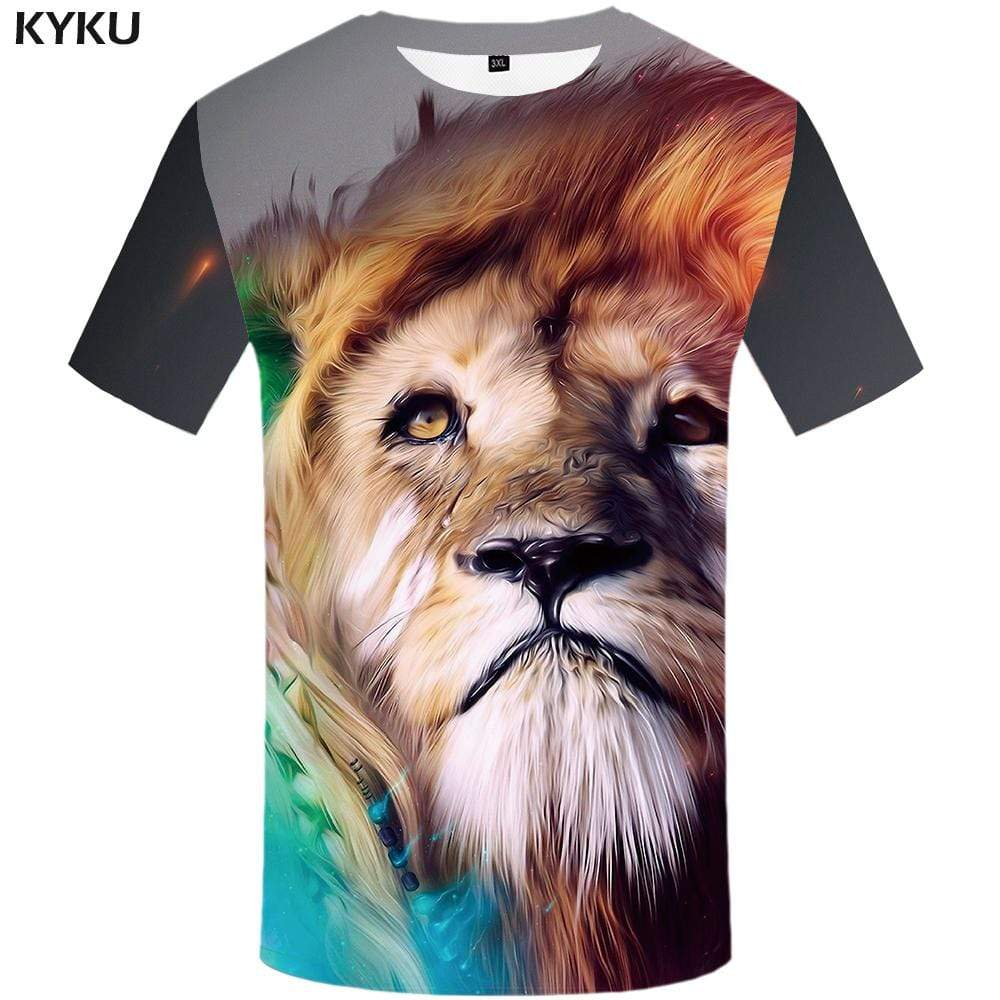 Lion T-shirts Men Colorful T shirts Funny Graffiti Tshirt Anime Animal Tshirts Print Art T-shirt 3d Mens Clothing Casual Unisex