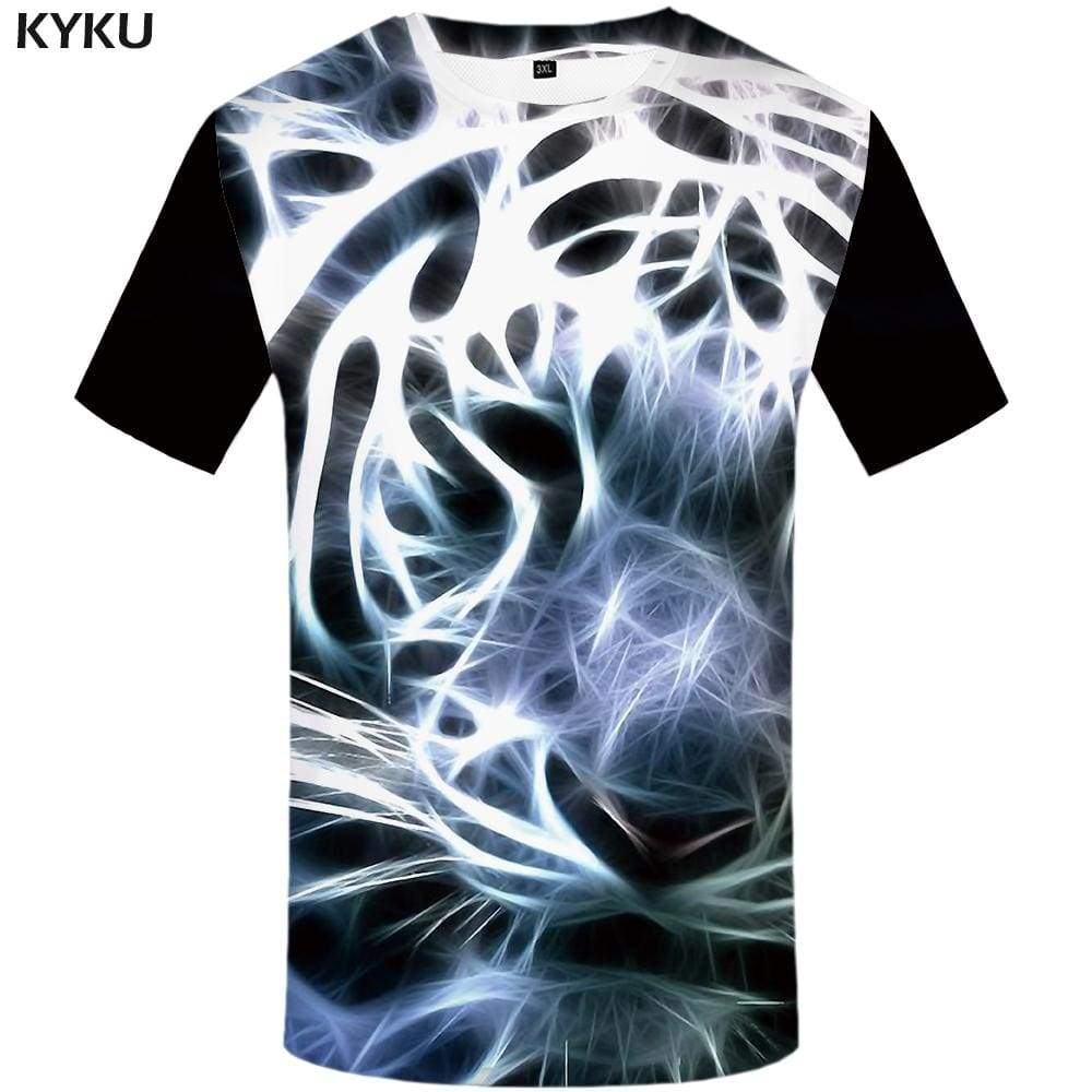 Tiger T-shirts Men White Tshirt Anime Animal T-shirt 3d Art T shirts Funny Abstract Tshirts Print Mens Clothing Short Sleeve