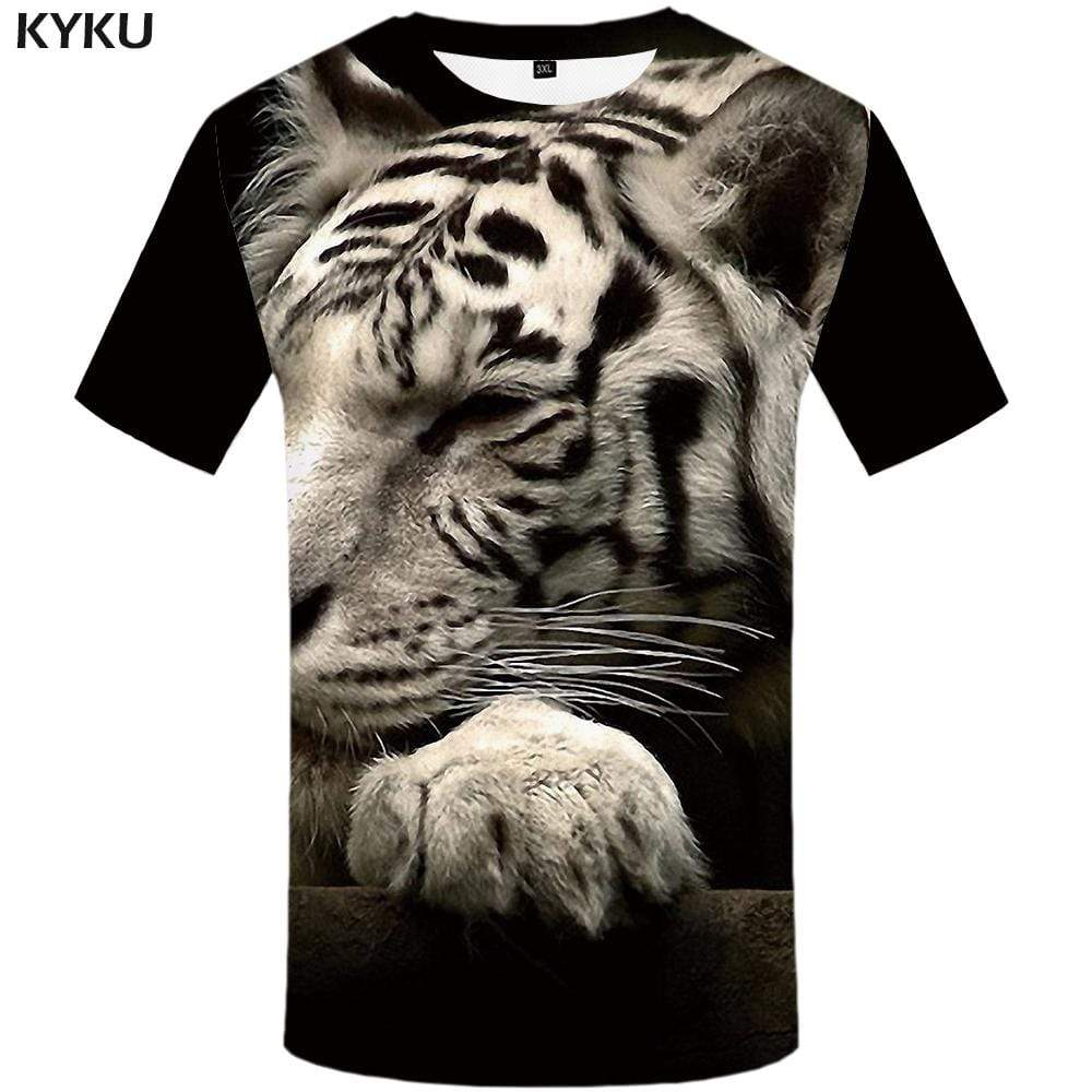 Tiger T-shirts Men Gray T-shirt 3d Animal T shirts Funny Harajuku Tshirts Print Tshirt Anime Mens Clothing Casual Unisex