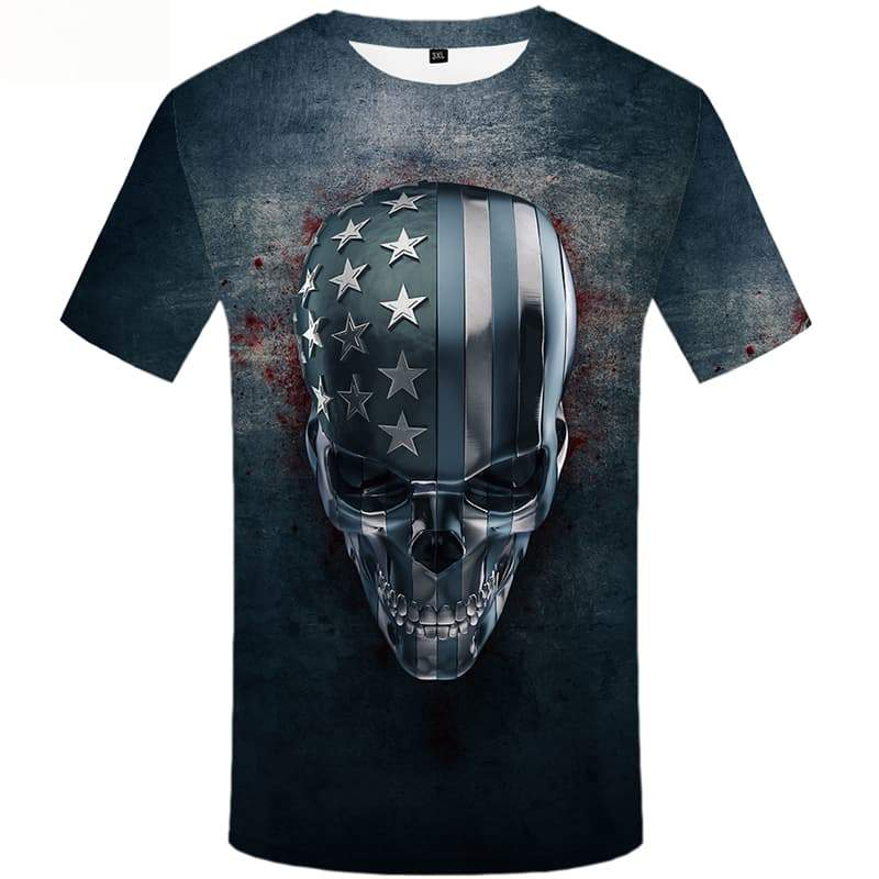 Skull T-shirt Men Blood Tshirts Cool Skeleton T-shirts Graphic Short Sleeve