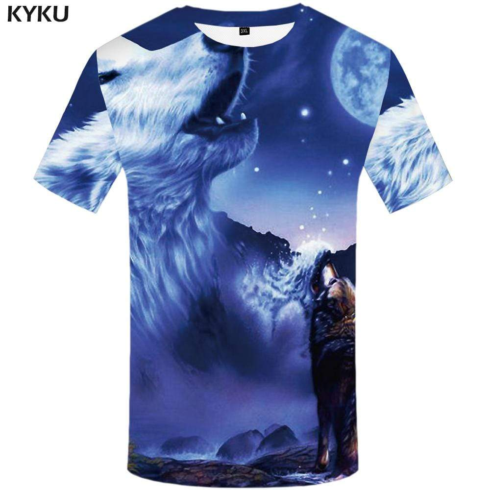 KYKU Wolf T shirt Men Moon T-shirt 3d Animal Tshirts Print Mountain T shirts Funny Harajuku Tshirt Anime Mens Clothing