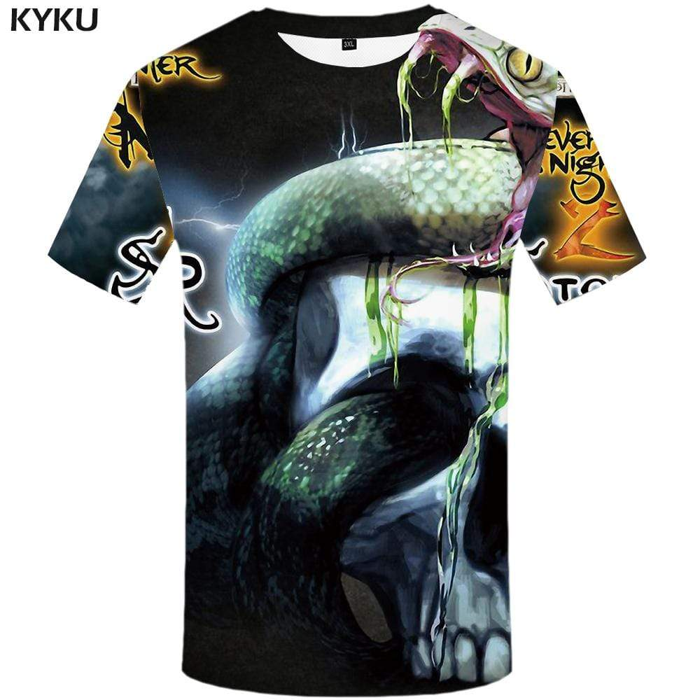 KYKU Skull T shirt Men Nebula T shirts Funny Space Tshirt Anime Gothic Tshirts Print Skeleton T-shirt 3d Mens Clothing