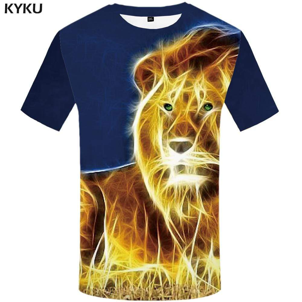 Lion T shirt Men Geometric T shirts Funny Animal Tshirt Anime Art T-shirt 3d Flame Tshirts Print Mens Clothing Casual Unisex