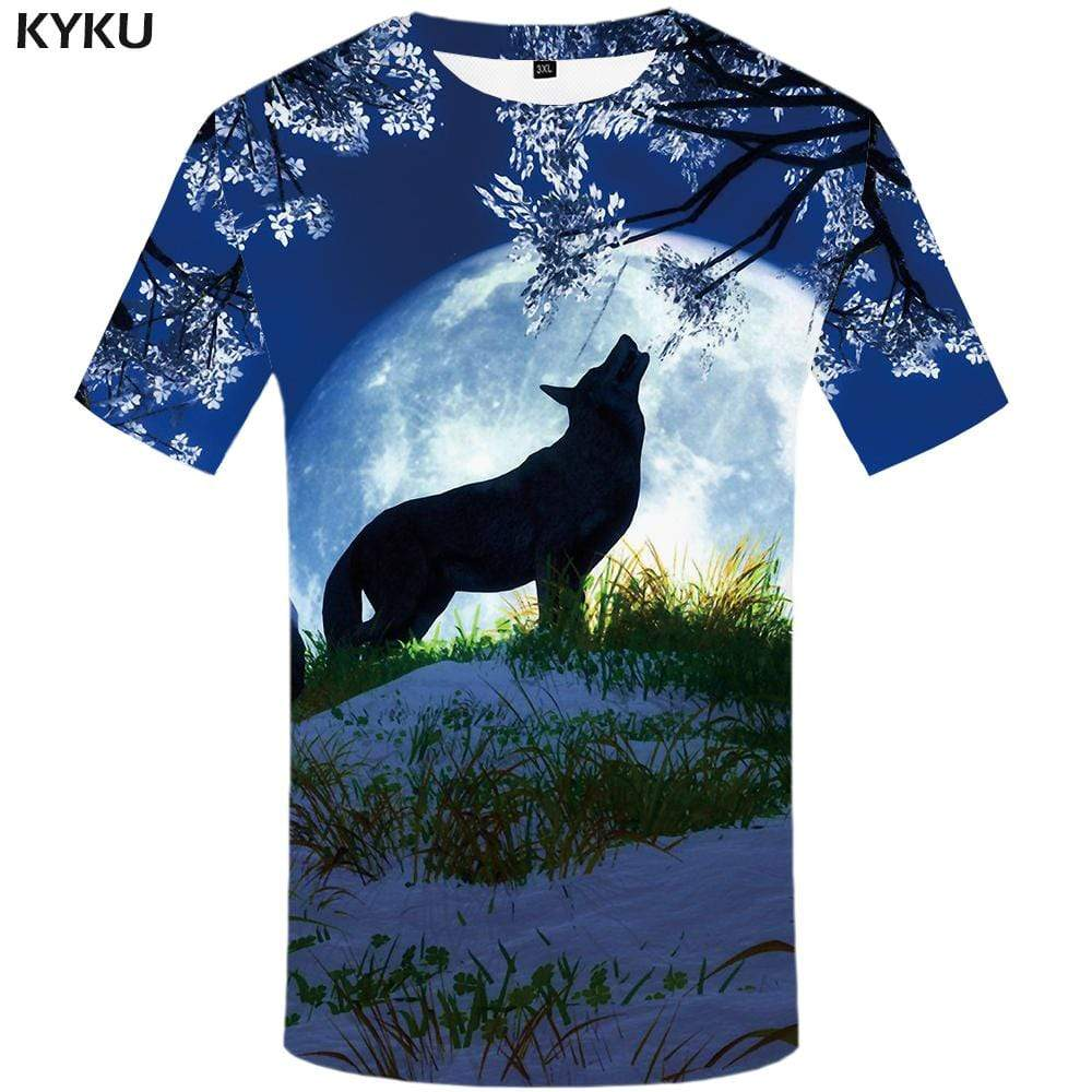 KYKU Brand Wolf T-shirts Men Moon T-shirt 3d Animal Tshirts Print Mountain T shirts Funny Snow Tshirt Anime Mens Clothing