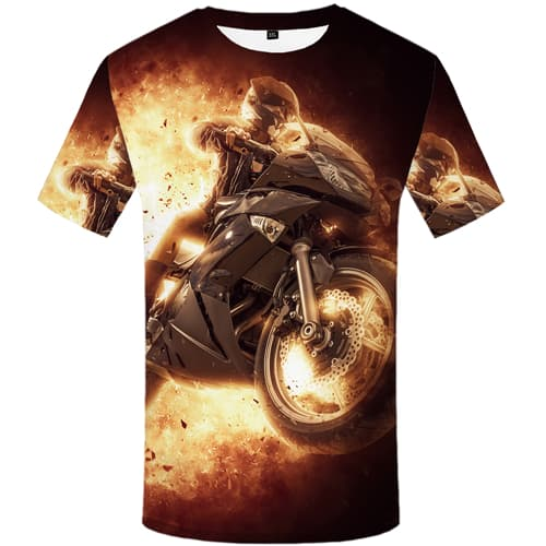 Character T-shirt Men Flame Tshirts Cool Motorcycle Tshirts Casual Short Sleeve