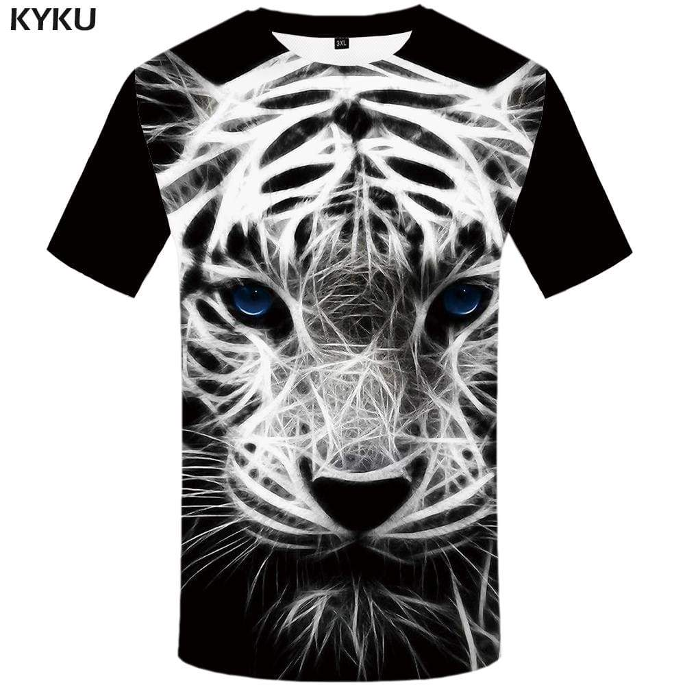 Tiger T shirt Men Black And White Tshirt Anime Animal Tshirts Print Space T shirts Funny Gothic T-shirt 3d Mens Fashion Graphic