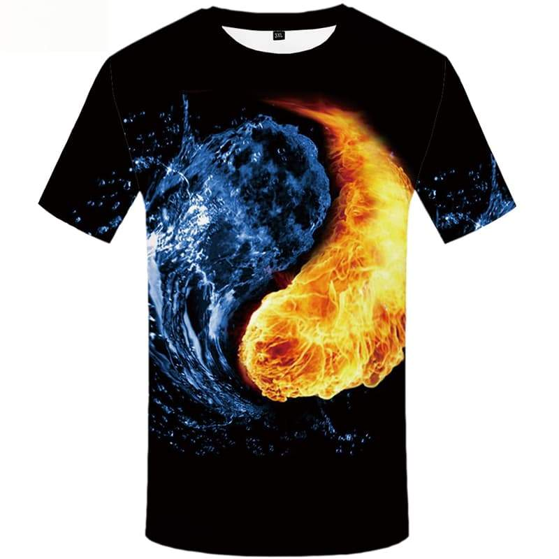 Yinyang T-shirt Men Flame Shirt Print Water Tshirts Cool Short Sleeve Fashion