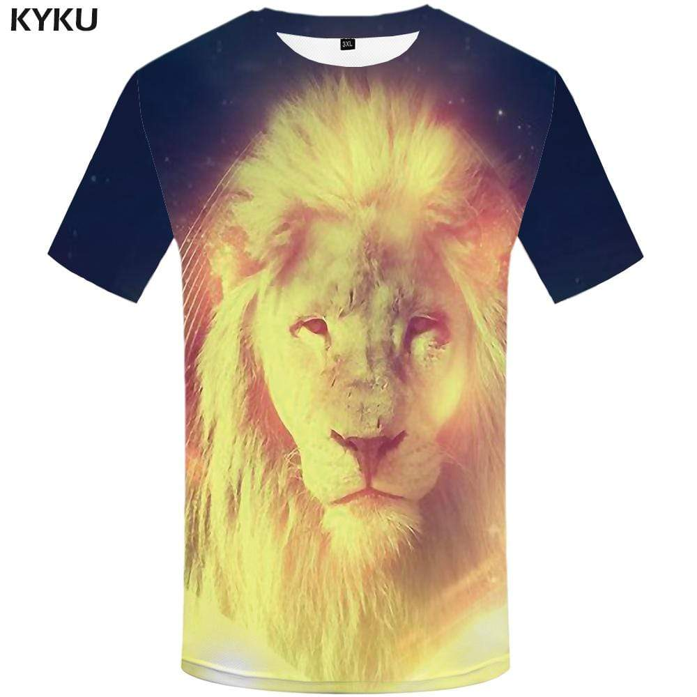 Lion T shirt Men Animal Tshirt Anime Abstract T shirts Funny Flame T-shirt 3d Space Tshirts Print Mens Clothing Short Sleeve