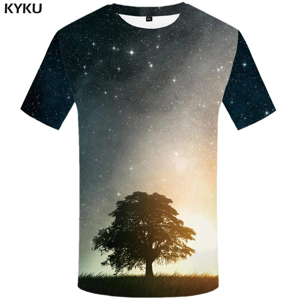 Space Galaxy T shirt Men Tree Tshirts Print Harajuku T shirts Funny Nebula Tshirt Anime T-shirt 3d Mens Clothing Short Sleeve