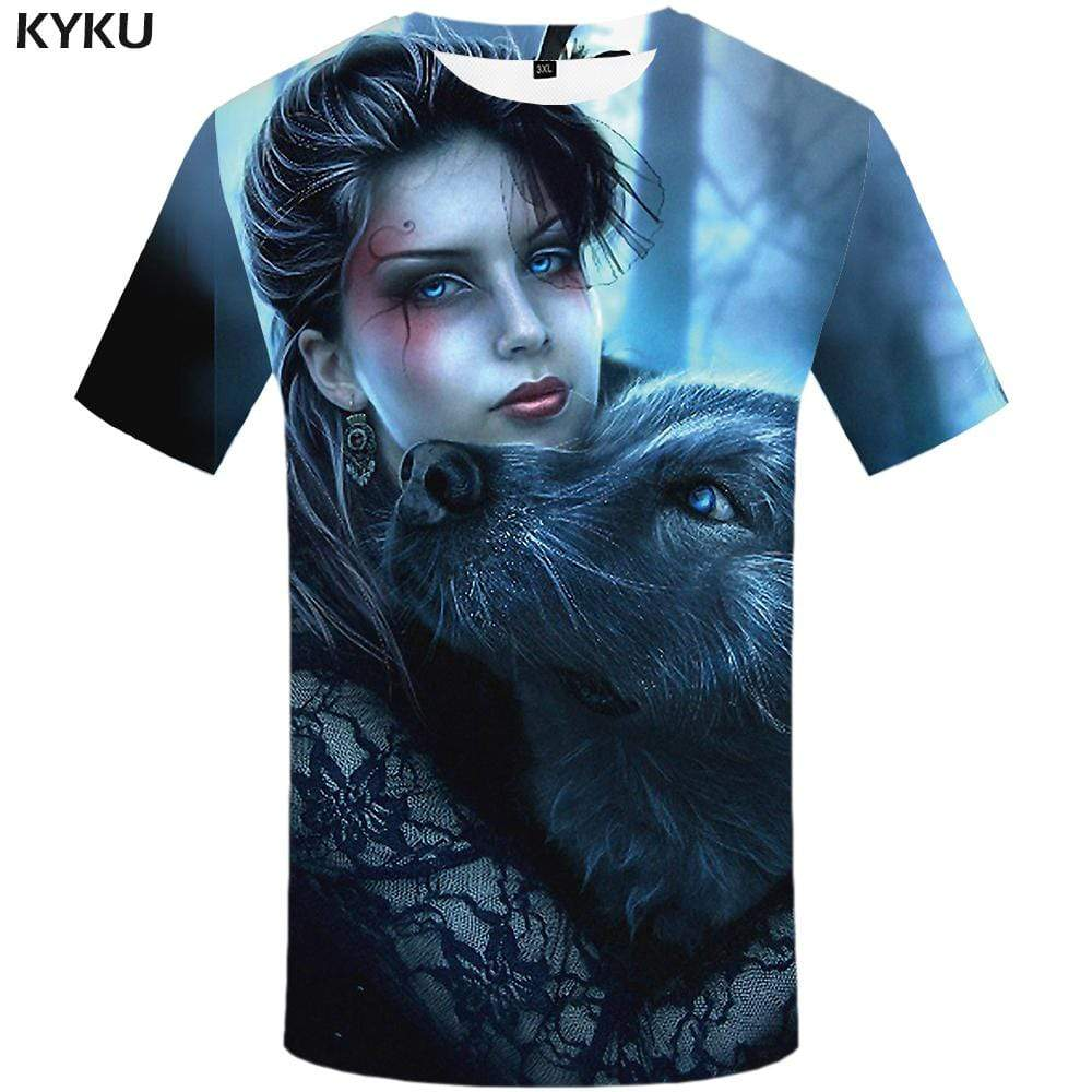 KYKU Wolf T shirt Men Animal Tshirts Print Funny Tshirt Anime Harajuku T-shirt 3d T shirts Funny Mens Fashion Short Sleeve