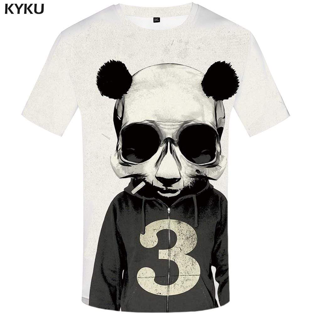 Panda T-shirts Men Skull T shirts Funny Animal Tshirt Anime Retro Tshirts Print Cosplay T-shirt 3d Mens Clothing Casual Unisex