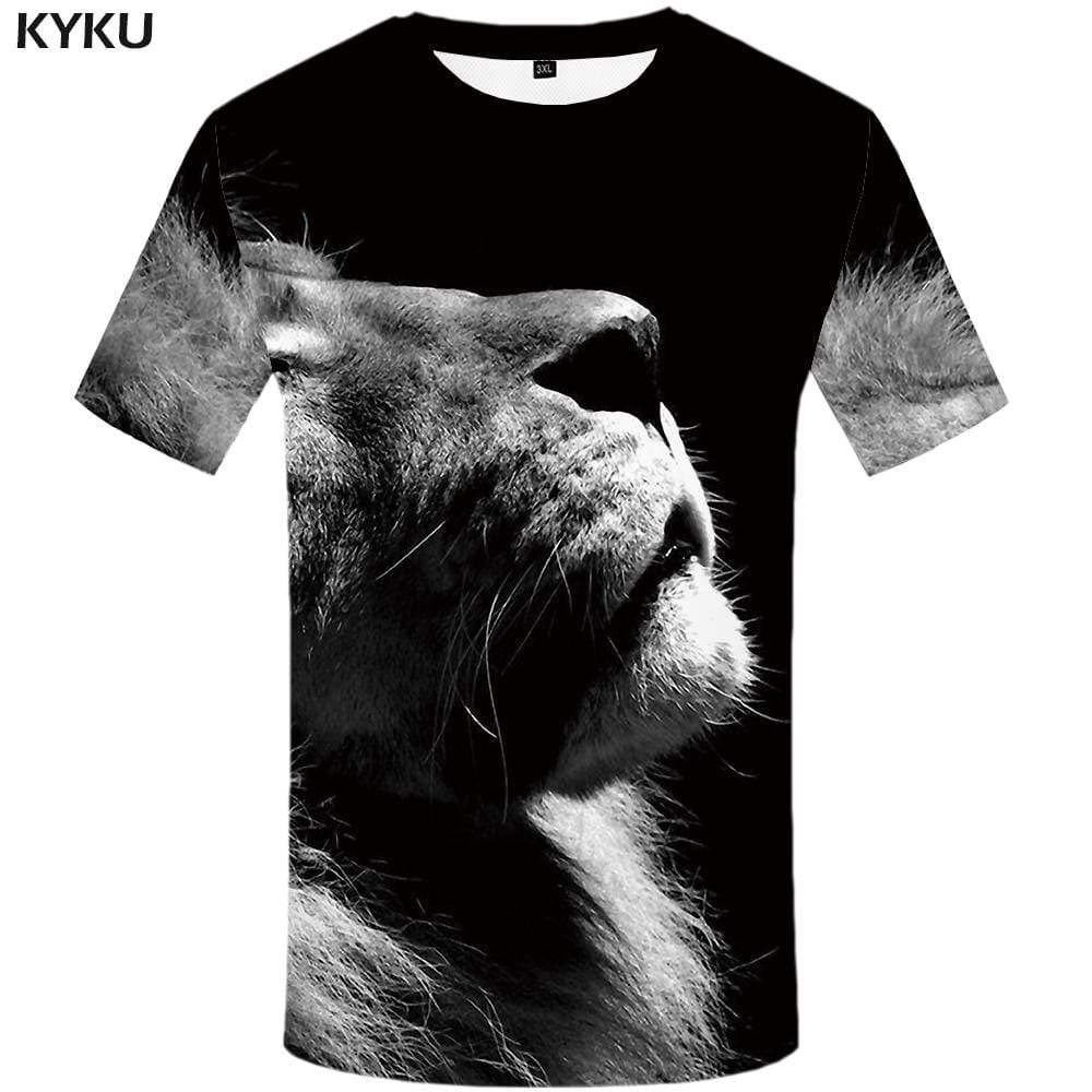 Lion T-shirts Men Gray T-shirt 3d Animal Tshirts Print Gothic T shirts Funny Tshirt Anime Mens Fashion Short Sleeve Unisex