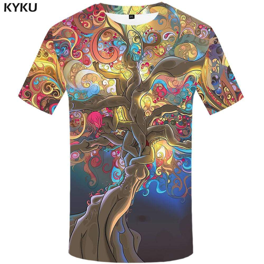 Tree T-shirts Men Character T-shirt 3d Colorful T shirts Funny Psychedelic Tshirts Print Gothic Tshirt Anime Mens Fashion