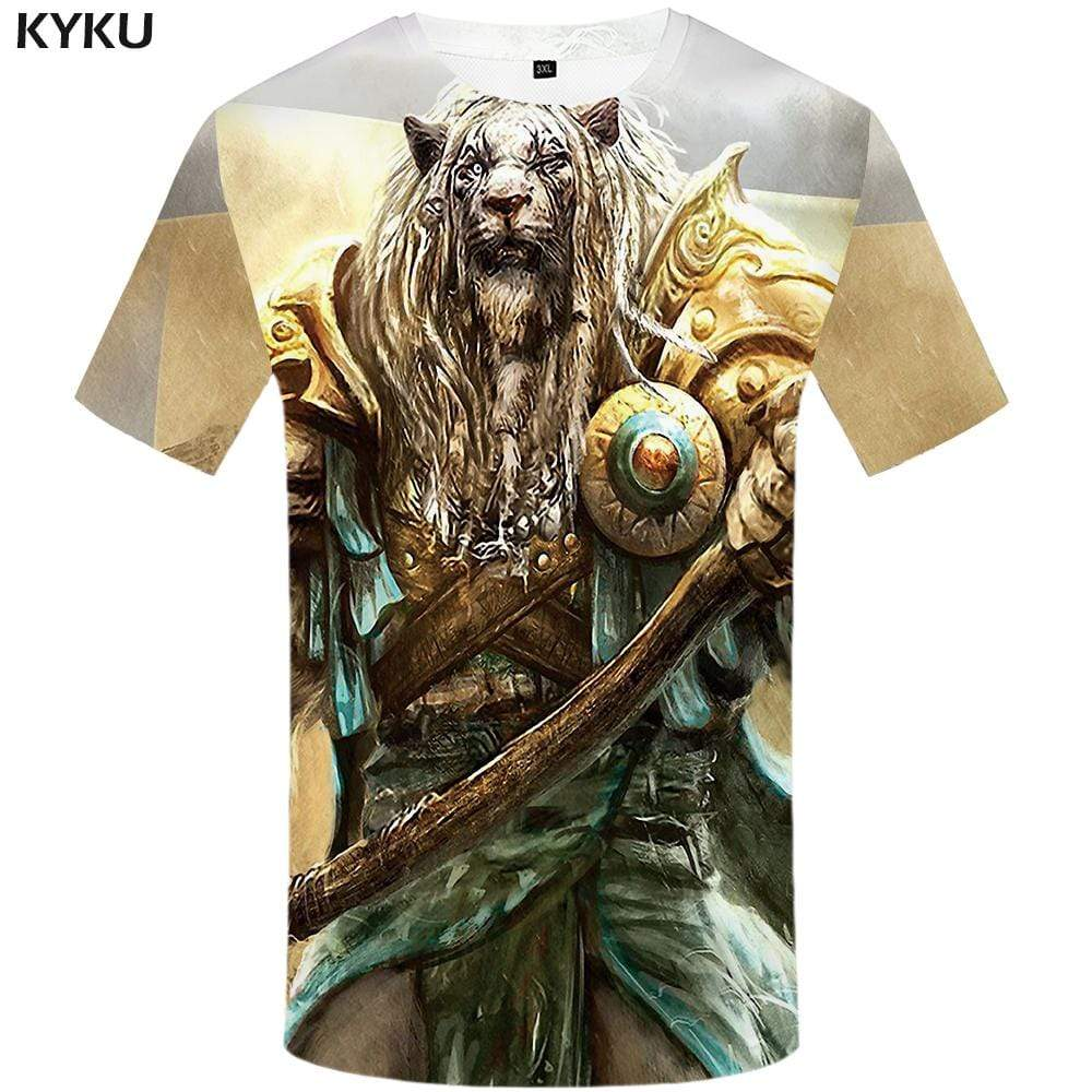 Lion T shirt Men Metal Tshirts Print Armor T shirts Funny Animal Tshirt Anime War T-shirt 3d Mens Clothing Short Sleeve Unisex