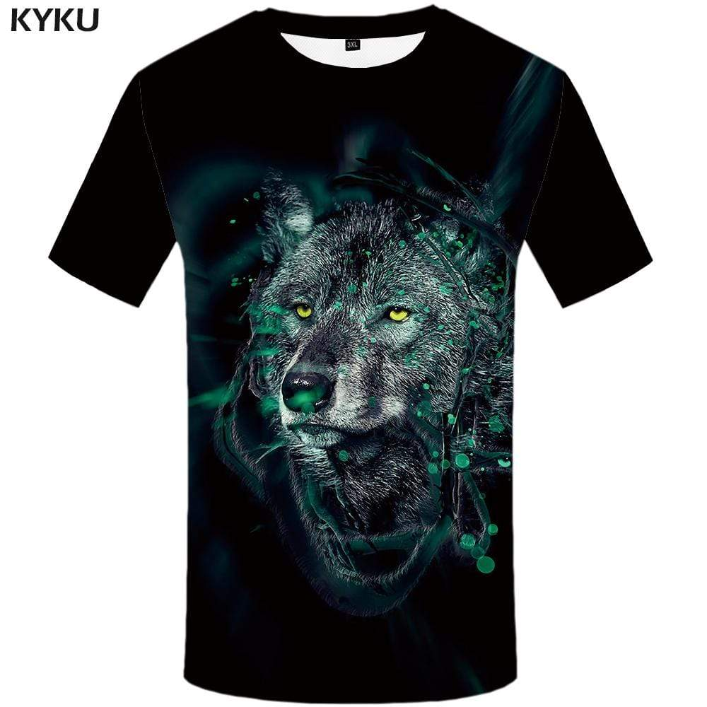 KYKU Brand Wolf T-shirts Men Black Tshirts Print Animal T-shirt 3d Ink T shirts Funny Vintage Tshirt Anime Mens Clothing Casual