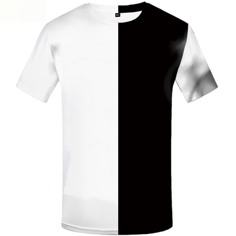 Yinyang T shirts Men Black And White Tshirt Printed Harajuku Tshirts Novelty