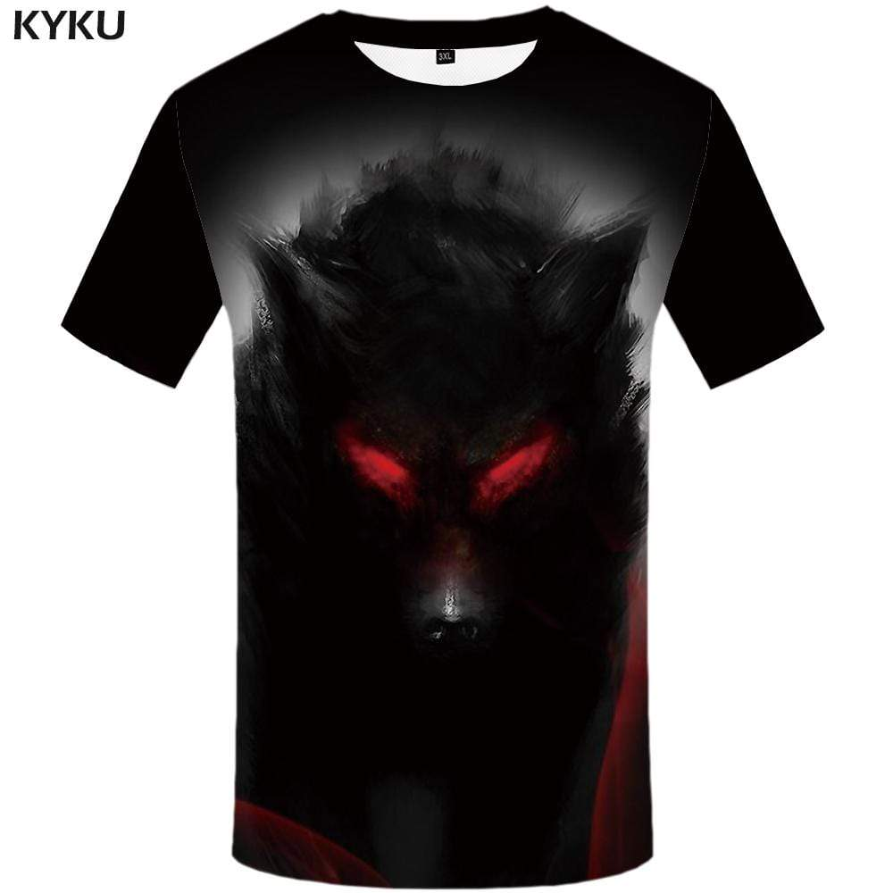 Wolf T shirt Men Animal Tshirts Print Graffiti Tshirt Anime Black T-shirt 3d Flame T shirts Funny Mens Clothing Graphic Unisex