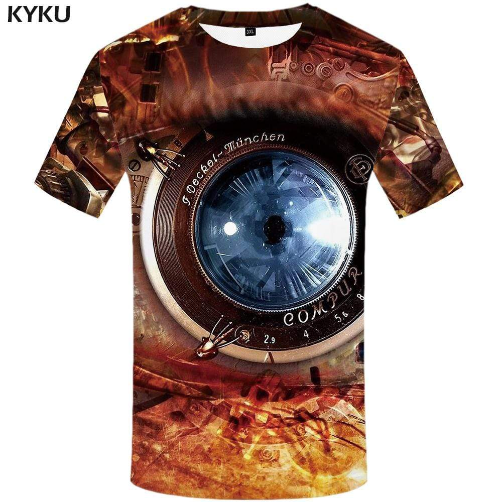Metal T-shirts Men Flame T shirts Funny Mechanical Tshirt Anime Eye Tshirts Print Harajuku T-shirt 3d Mens Clothing Hip hop