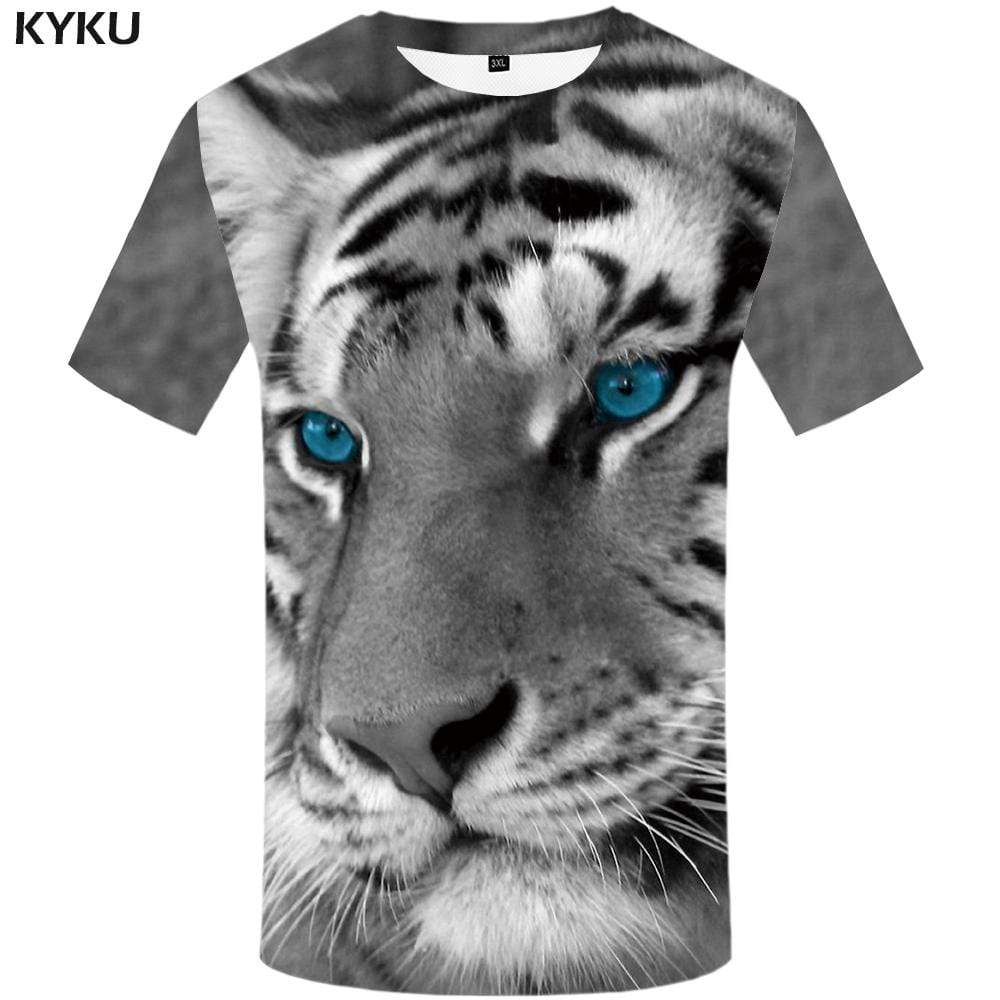 Tiger T shirt Men Animal T shirts Funny Gray Tshirt Anime Harajuku T-shirt 3d Funny Tshirts Print Mens Clothing Hip hop Unisex