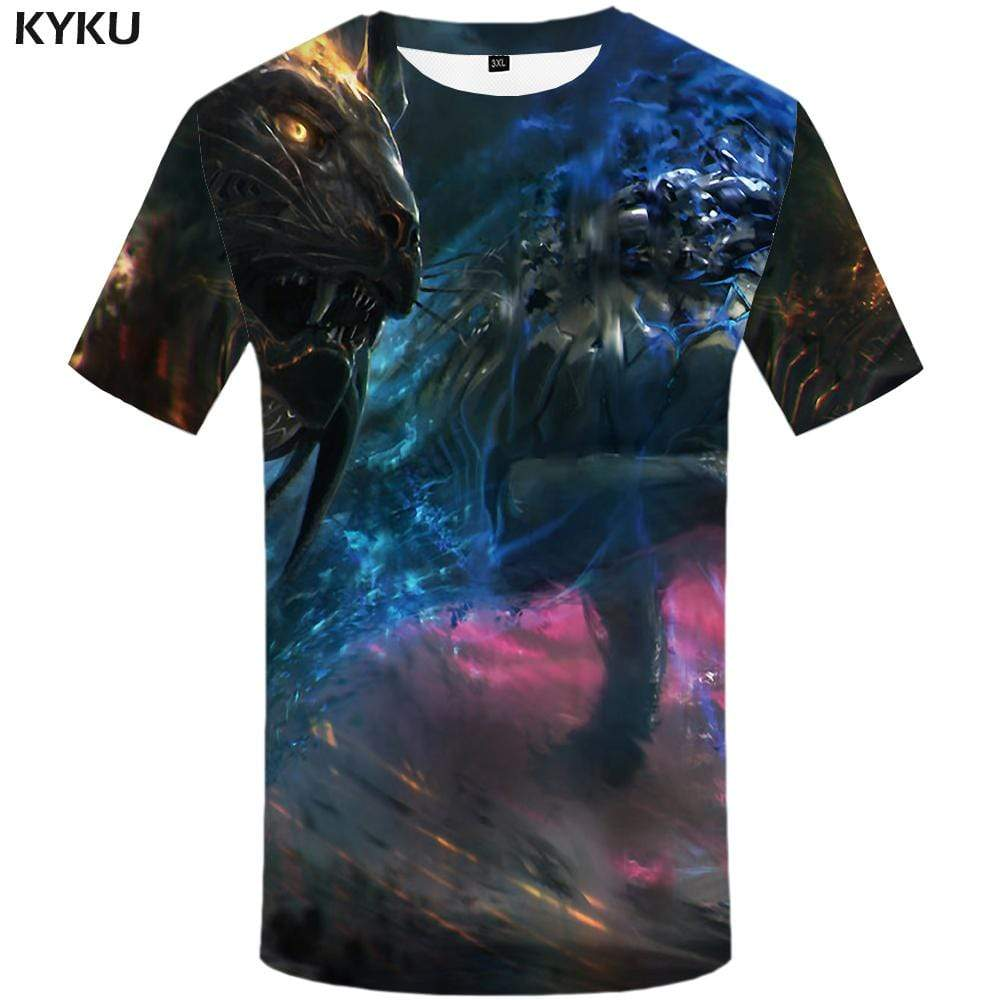 KYKU Dragon T-shirts Men Colorful Tshirts Print Animal T-shirt 3d War T shirts Funny Graffiti Tshirt Anime Mens Fashion Hip hop