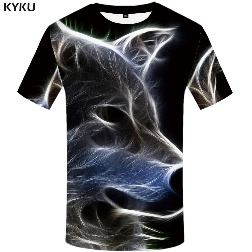 KYKU Wolf T shirt Men Animal T shirts Funny Magic Tshirt Anime Fantasy T-shirt 3d Harajuku Tshirts Print Mens Clothing Graphic