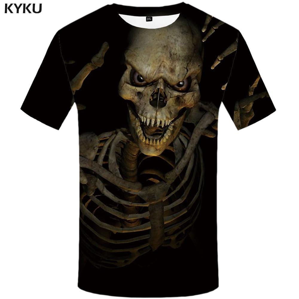 Skull T-shirts Men Skeleton Tshirts Print Gothic T shirts Funny Black Tshirt Anime Punk Rock T-shirt 3d Mens Clothing Hip hop
