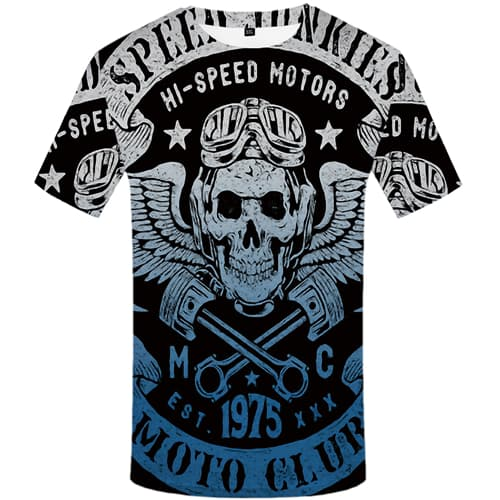 Skull T-shirt Men Feather Tshirts Cool Vintage T-shirts 3d Short Sleeve Hip hop