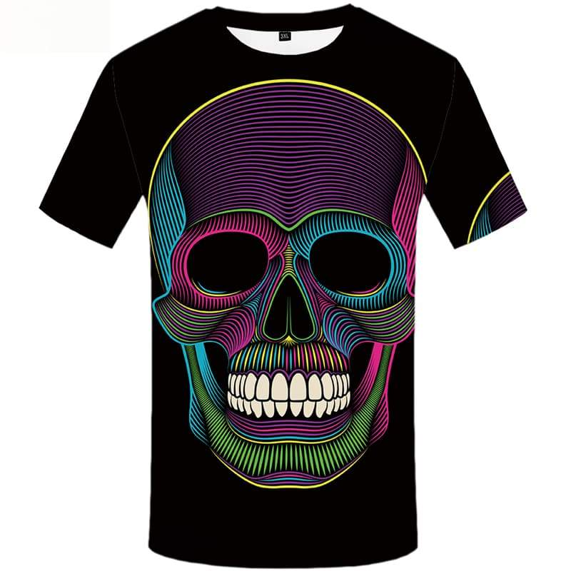 Skull T-shirt Men Graffiti T shirts Funny Colorful Tshirt Anime Short Sleeve