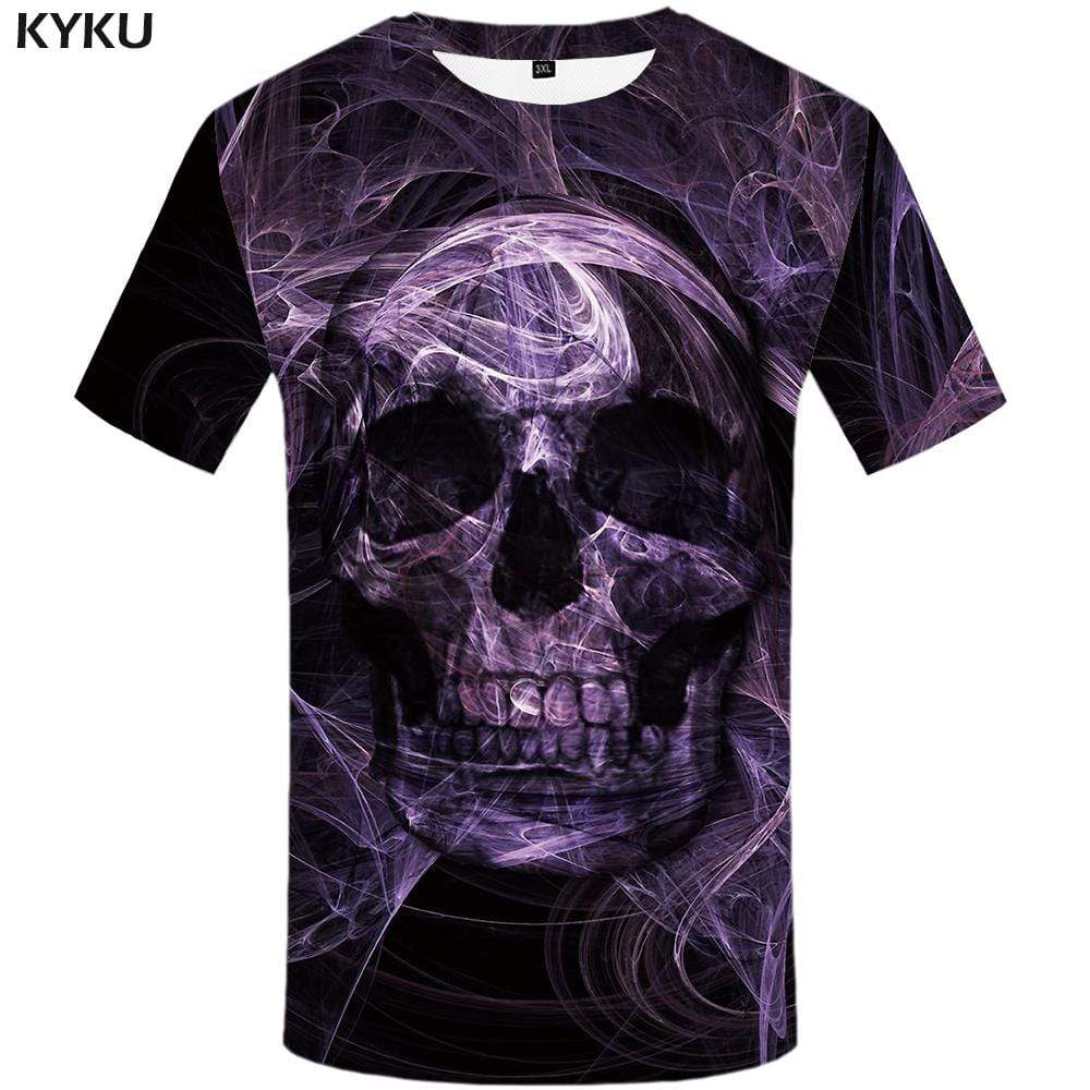 Sulku T-shirts Men Skeleton Tshirts Print Psychedelic T shirts Funny Purple Tshirt Anime Punk Rock T-shirt 3d Mens Fashion