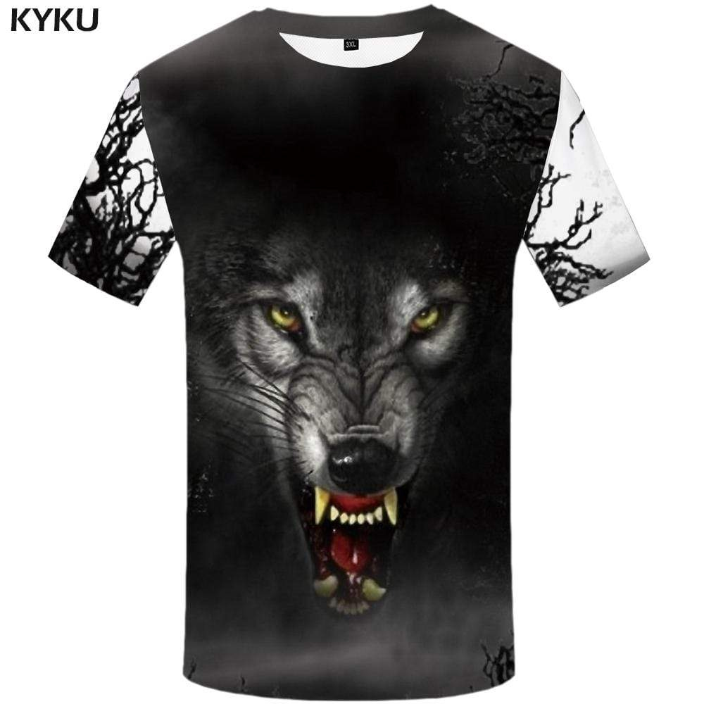 KYKU Wolf T-shirts Men Animal Tshirt Anime Forest T-shirt 3d Angry Tshirts Print Gray T shirts Funny Mens Fashion Graphic