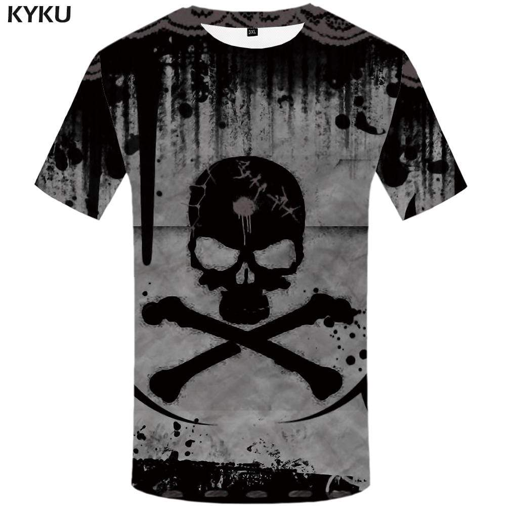 Skull T-shirts Men Graffiti T-shirt 3d Gray T shirts Funny Poison Tshirts Print Devil Tshirt Anime Mens Fashion Short Sleeve