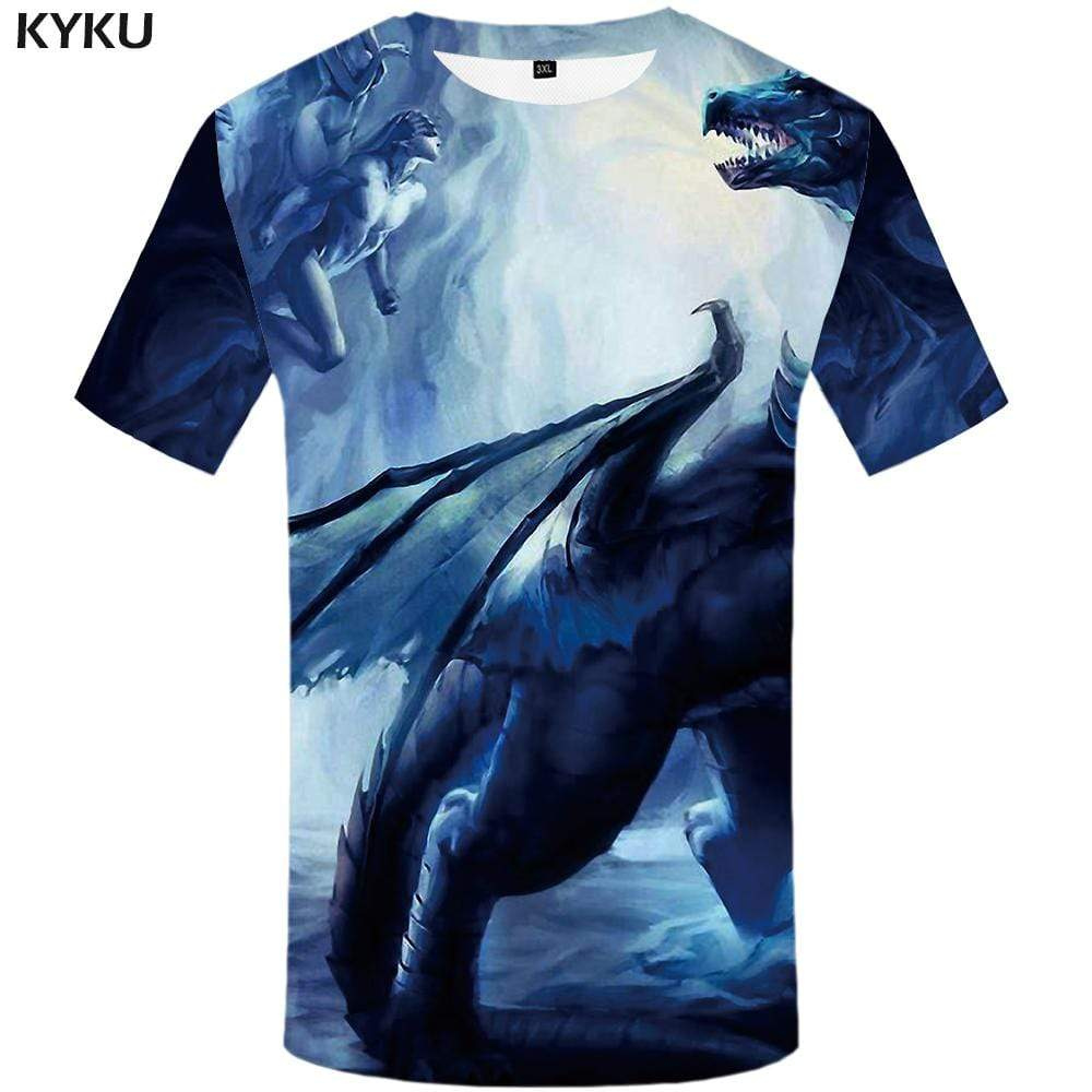 KYKU Brand Dinosaur T shirt Men Animal T shirts Funny Character Tshirts Print Art Tshirt Anime Colorful T-shirt 3d Mens Fashion