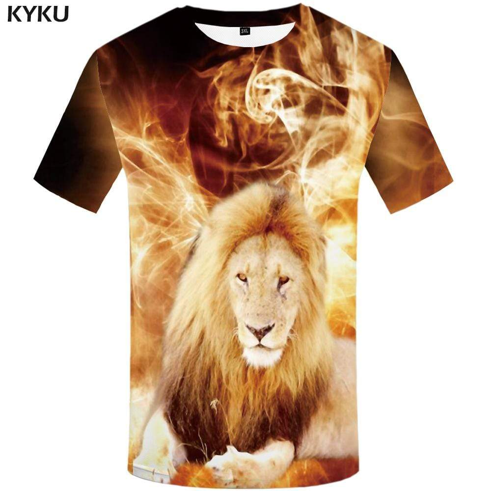 Lion T shirt Men Galaxy Space T-shirt 3d Art Tshirt Anime Animal T shirts Funny Tshirts Print Mens Fashion Casual Unisex