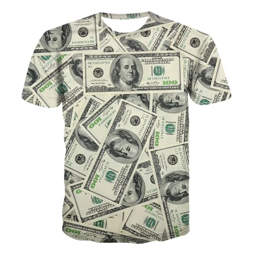 Dollar Money T-shirt US Currency 3d Print Funny T-shirts Men/Women Unisex