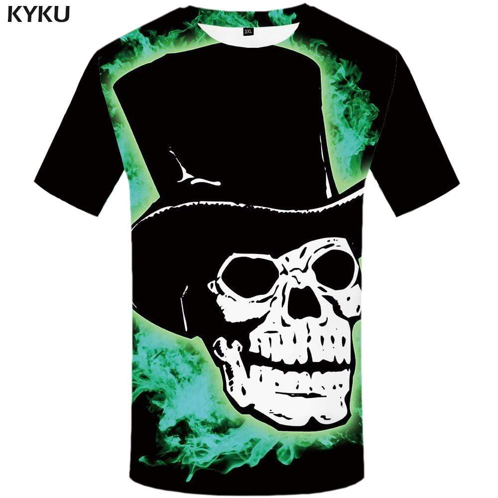 Skull T shirt Men Graffiti Tshirts Print Black T-shirt 3d Art Tshirt Anime Gothic T shirts Funny Mens Clothing Casual Unisex
