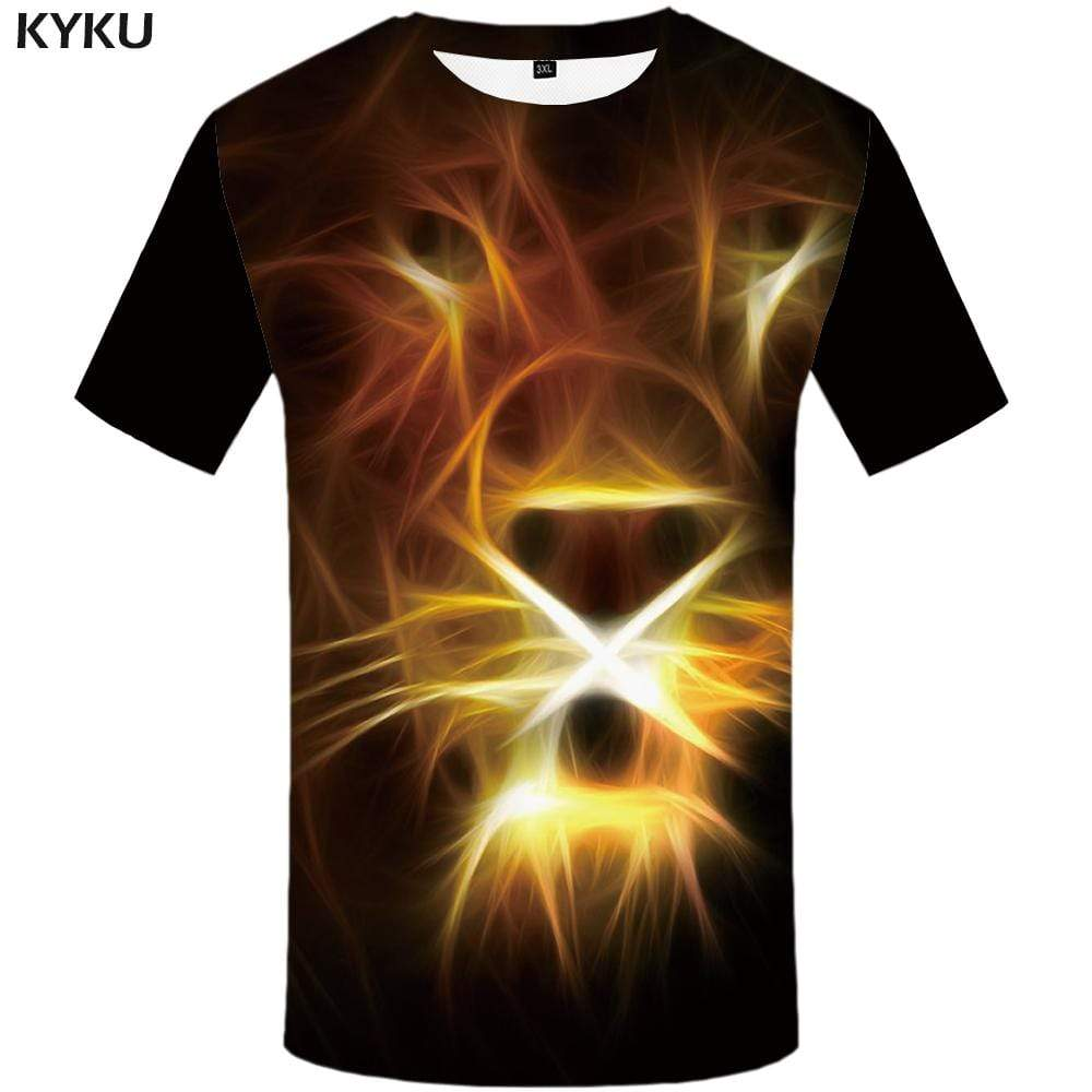 Lion T-shirts Men Flame Tshirts Print Animal T shirts Funny Black Tshirt Anime Gothic T-shirt 3d Mens Fashion Short Sleeve