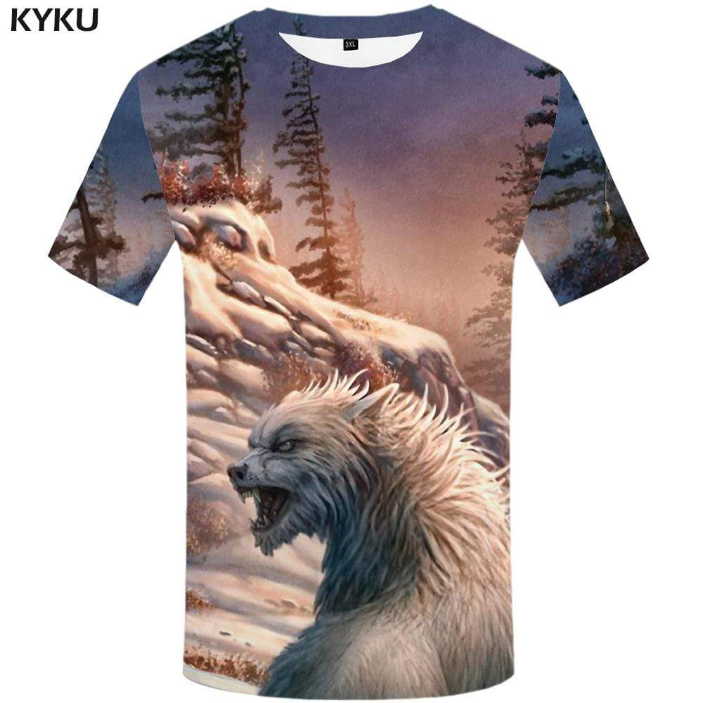 KYKU Wolf T shirt Men Forest Tshirts Print Mountain T shirts Funny Snow Tshirt Anime Animal T-shirt 3d Mens Fashion Casual